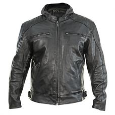 Xelement 'Throttle Boss' Mens Black Leather Motorcycle Jacket with Zip Out Hoodie
